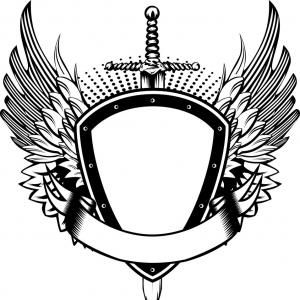 Vector Shield With Wings Pdf Spartan Helmet Shield Sword Wings Vector Seni Grafis Tato Burung Hantu Gambar Serigala