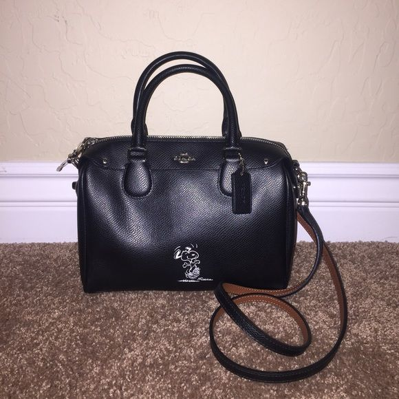 05e97591e44d New Coach Snoopy Mini Bennett Black Leather Purse New with tags Coach  Snoopy Black Leather Mini Bennett Satchel purse. Has 2 handles or long  detachable ...