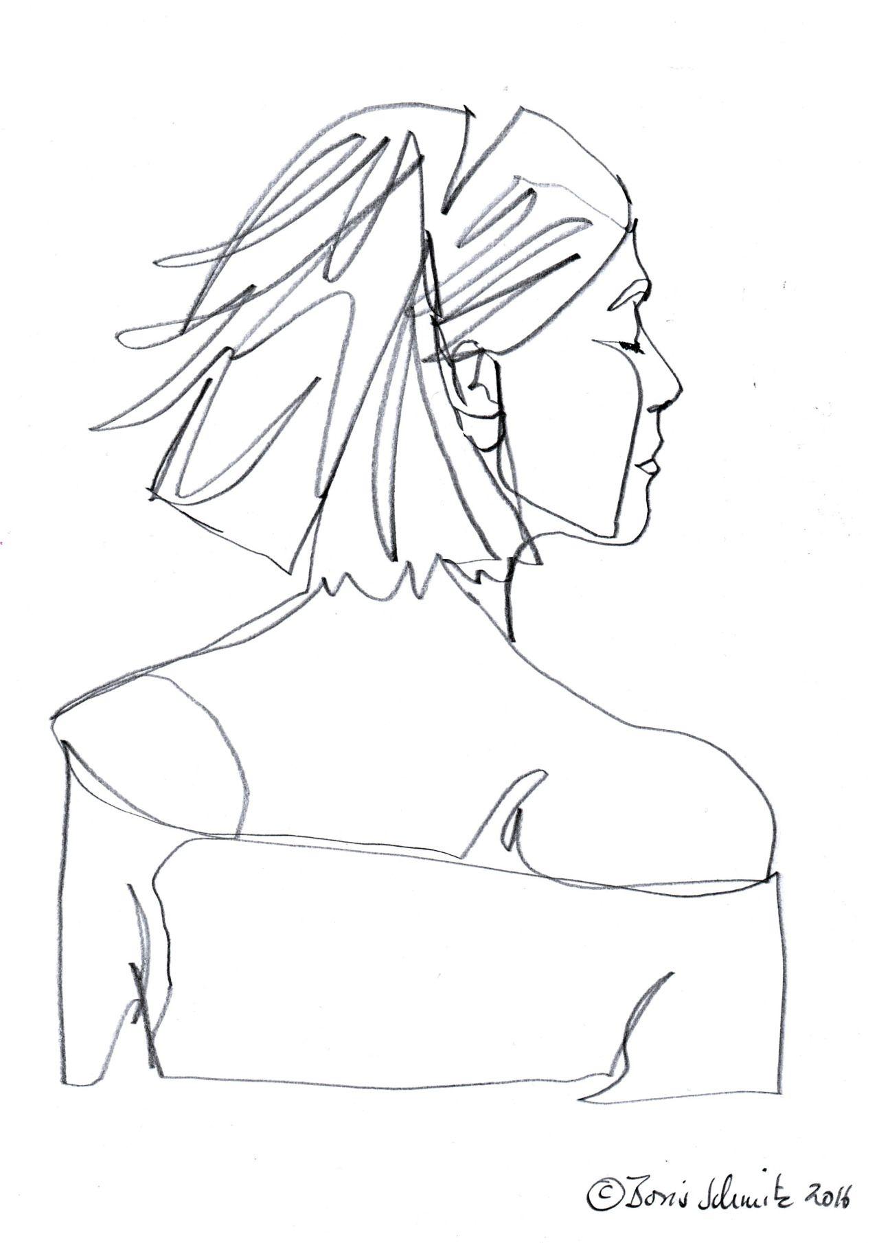 """Continuous Line Art : Borisschmitz """"profil perdu ″ continuous line drawing"""