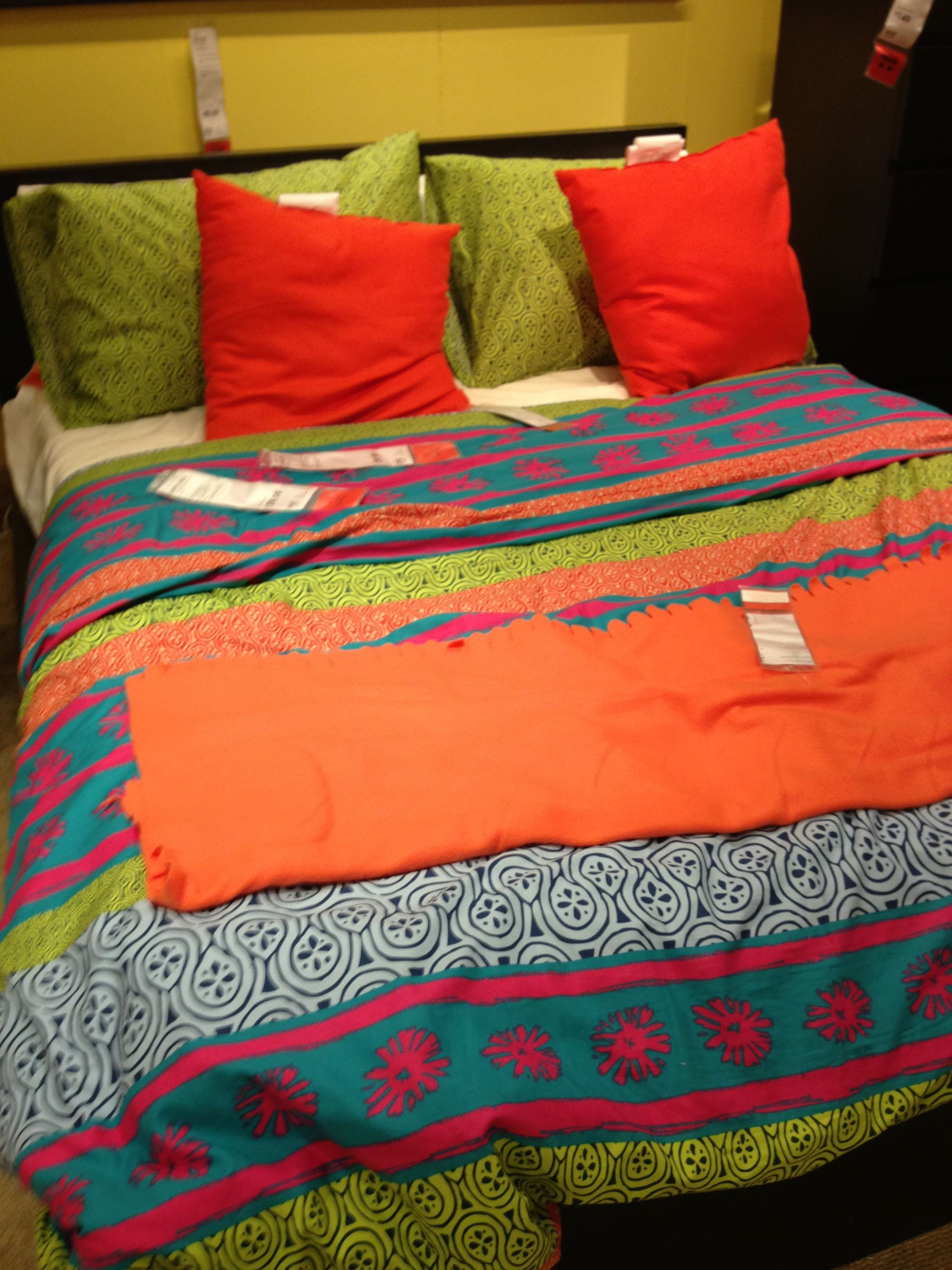 lappljung duvet cover from ikea with orange Cushions and blanket
