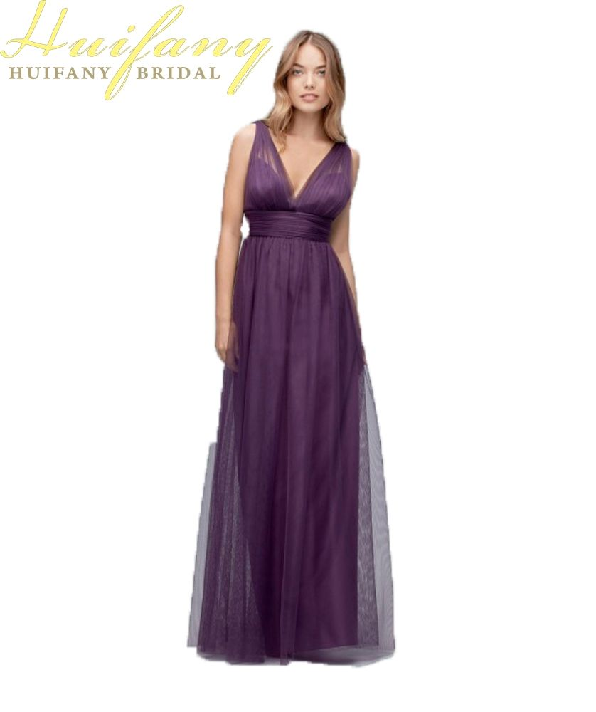 Deep V Neck Purple Bridesmaid Dresses A Line Sleeveless Long Floor ...