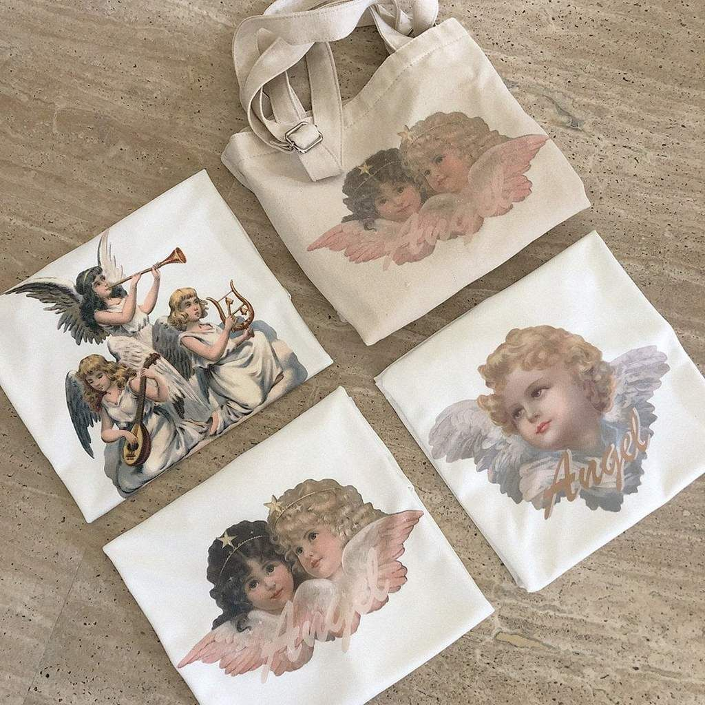 Angels print white oversized aesthetic tshirt is part of Clothes Fall Aesthetic - 19,69in; Material cotton