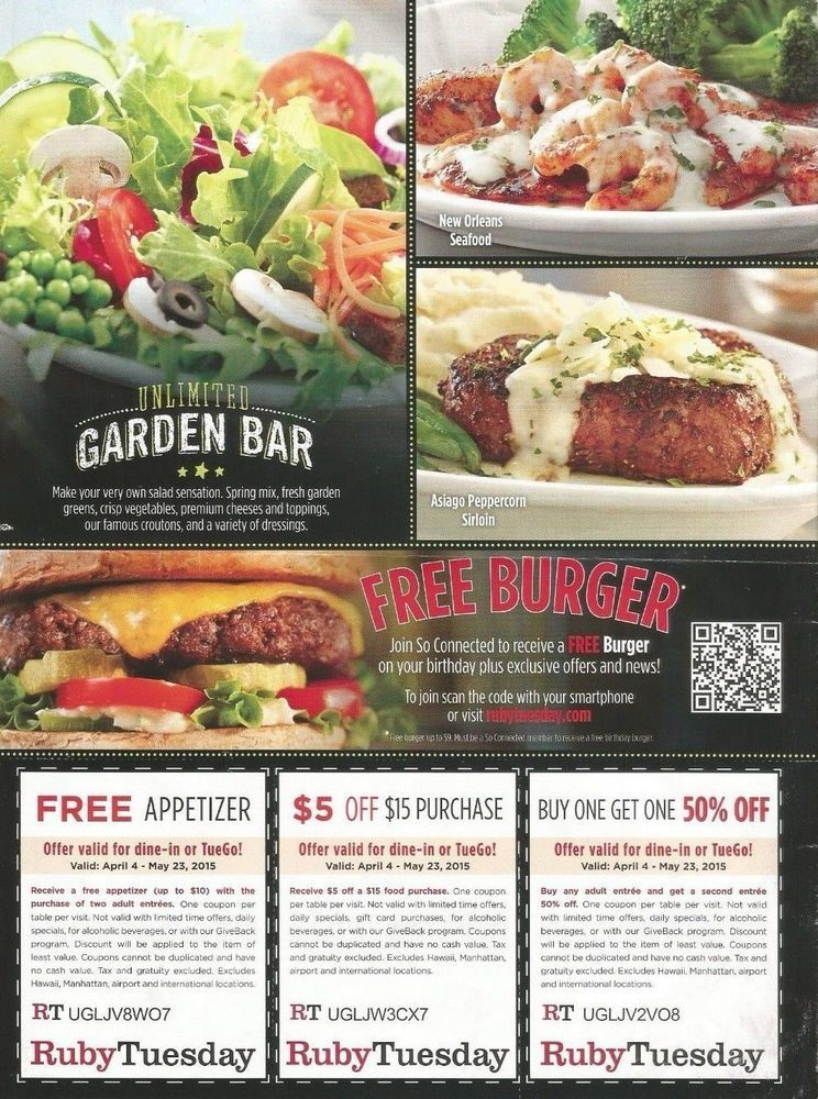 Ruby Tuesday Coupons 5 Off 50 Entree Kids Meal Expires 5 25
