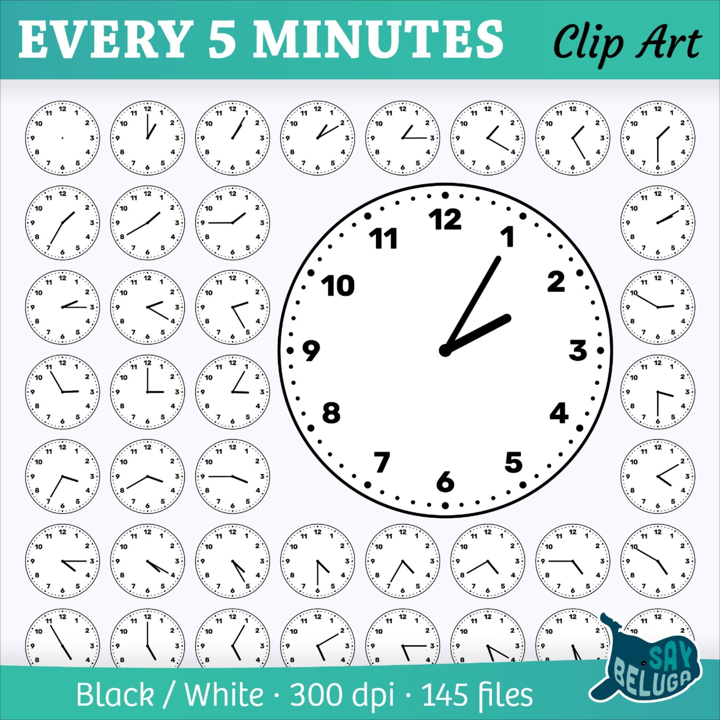 Clock Face Clip Art Every 5 Minutes For Print And