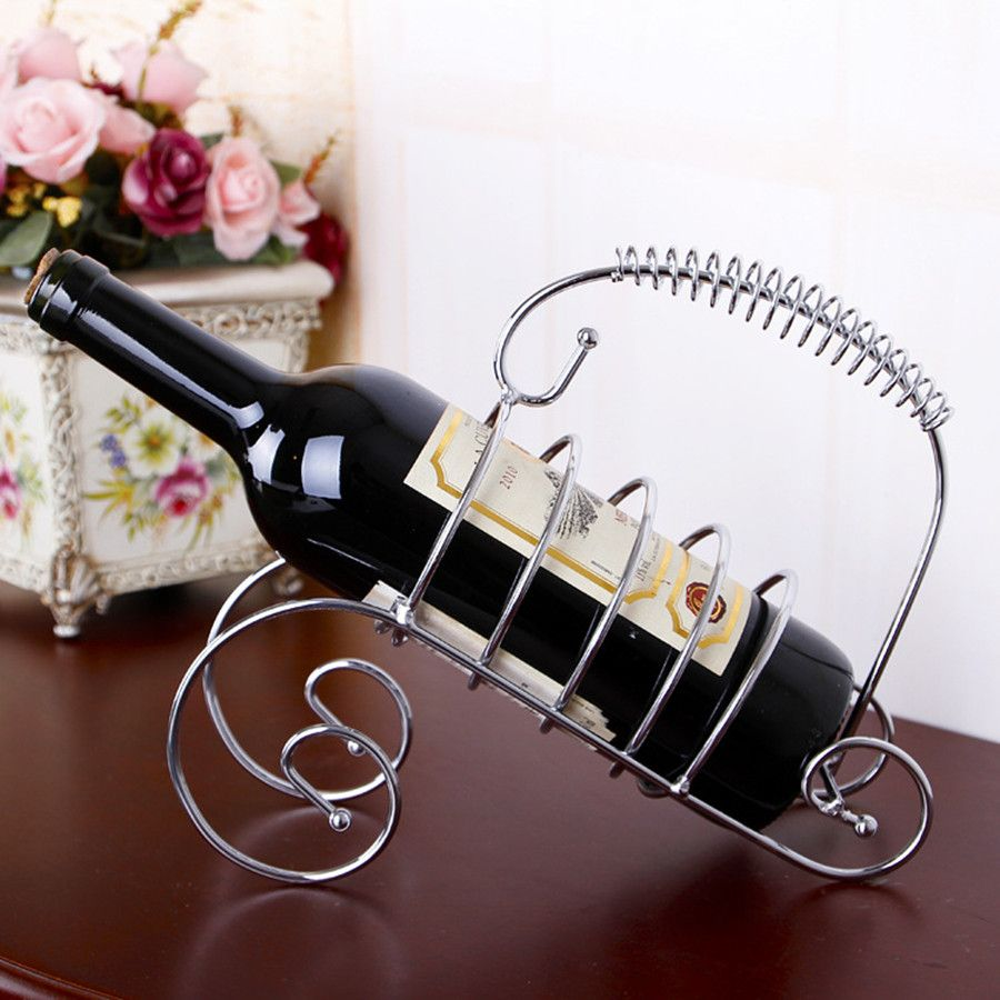 Stainless steel ornaments - Silver Bronze Wine Bottle Holder Stainless Steel Racks Storage Wine Glass Stand Home Bar Decor