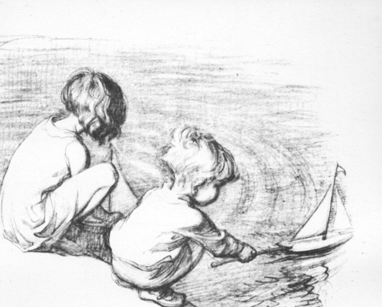 Bedroom drawing for kids - Vintage Children Pencil Sketch Playing Boat Pond Vintage Children S Illustration Bedroom Decor