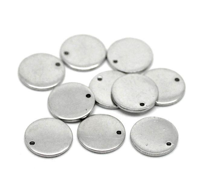 50 Silberfarbe Edelstahl Rund Charm Anhänger 10mm