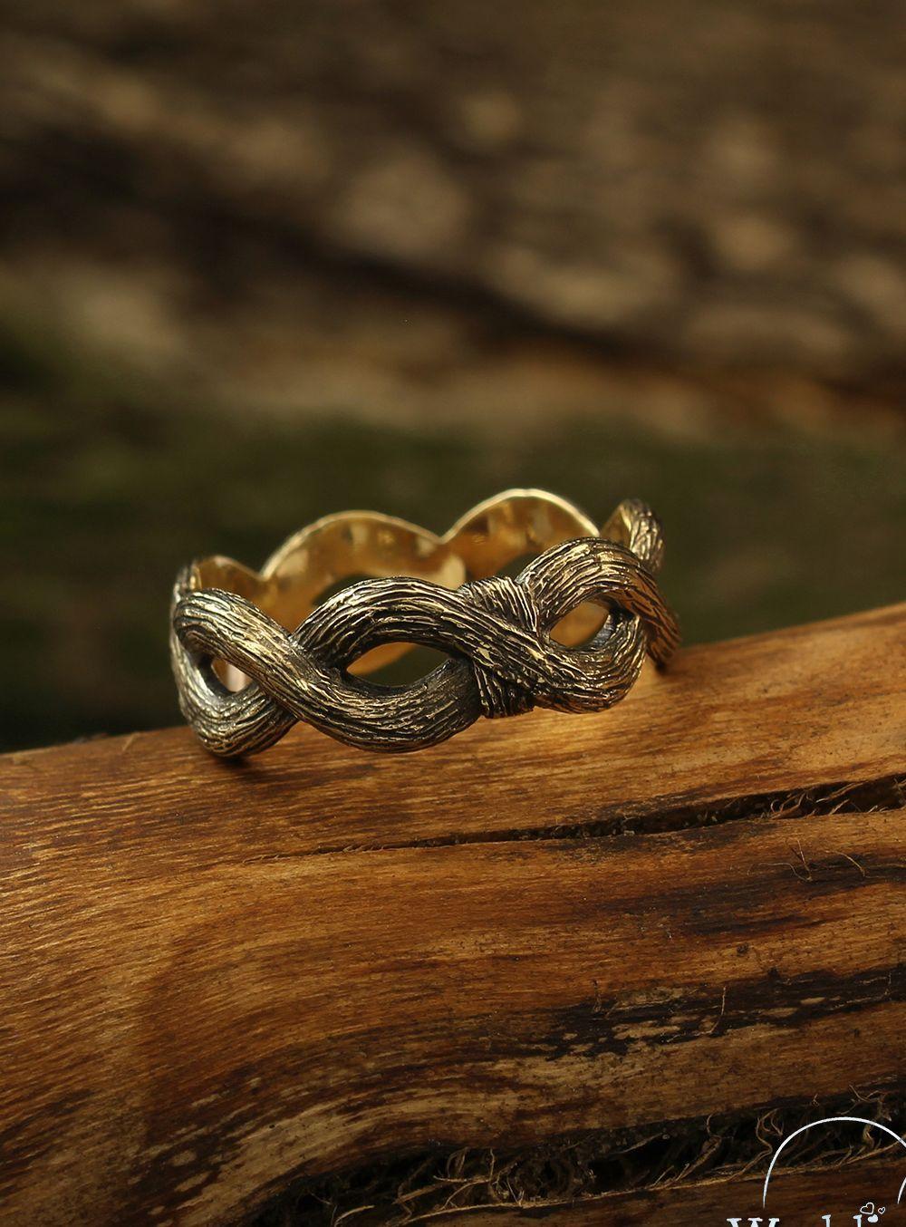 Tree Bark Infinity Wedding Band Tree Gold Wedding Ring Etsy Infinity Wedding Band Etsy Wedding Rings White Gold Wedding Ring Set