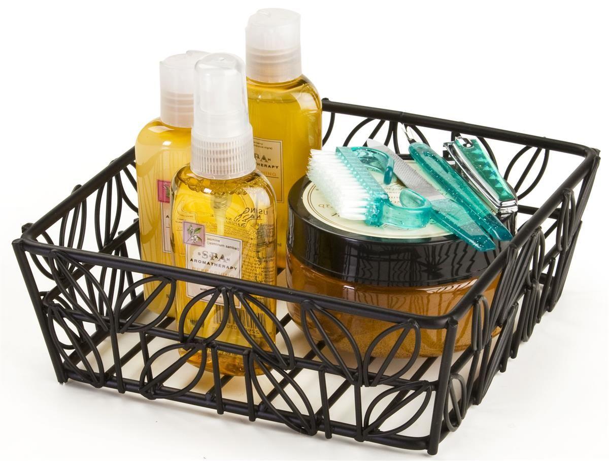 Square Wire Basket w/ Decorative Design - Black   Wire basket ...