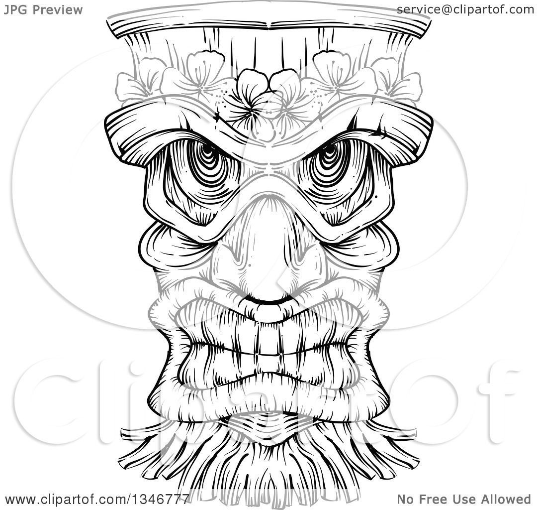 Black And White Engraved Tiki Mask