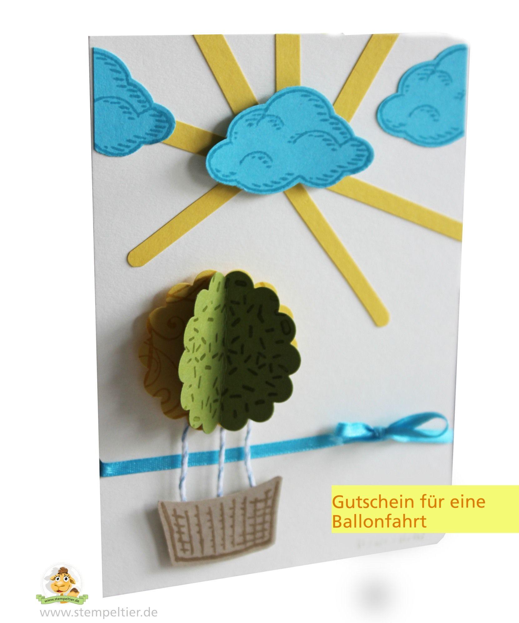 eine Gutscheinkarte mit Stampin' Up! Produkten für eine Ballonfahrt #Baumstanze # Signalfarben # Worte die gut tun