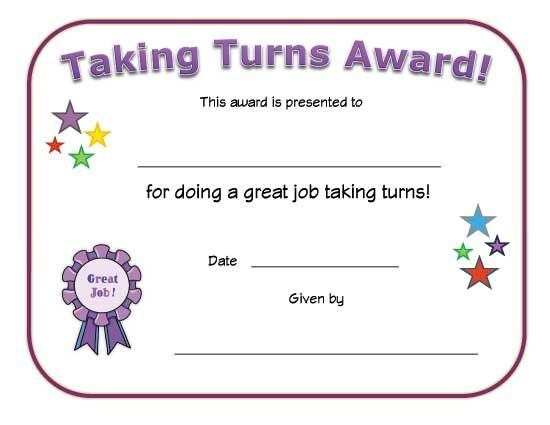 taking turns award Babysitting Pinterest Certificate - babysitting skills
