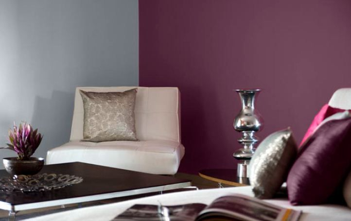 Living Room Decor Feature Wall In Period Purple 9558 Other Walls In Smoke N 0616 Purple
