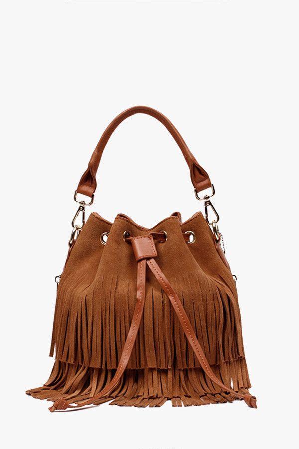 Brown Suede Fringed Bucket Bag