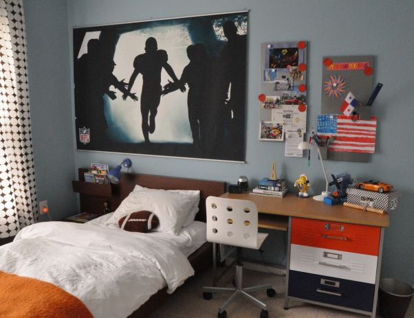 Orange, Brown And Blue Boys Room, Sports Theme Bedroom For Boy, PBTeen  Football Mural, Locker Style Desk, Ikea Desk Chair, Ikea Magnets, Ike.