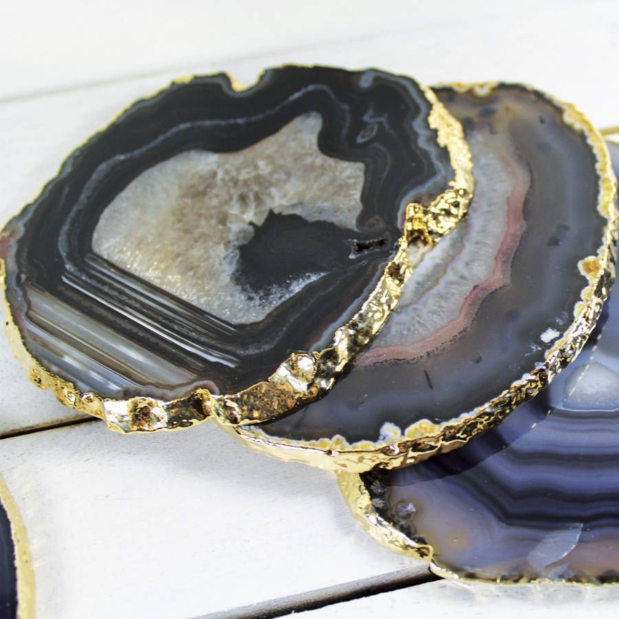 Black Gold Plated Agate Coasters Set Of Two By Minke And Fin Agate Coasters Precious Stones Coasters