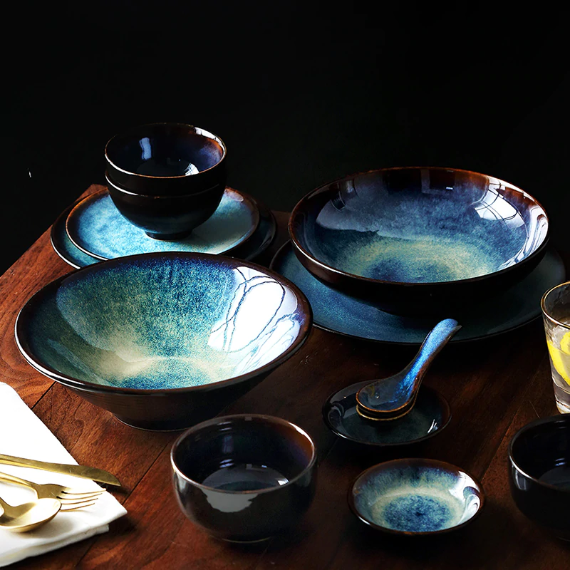 Kinglang 2 4 6 Person Dinner Set Japanese Bowl Set Household Ceramic Tableware Set In 2020 Ceramic Dinnerware Set Tableware Set Ceramic Tableware