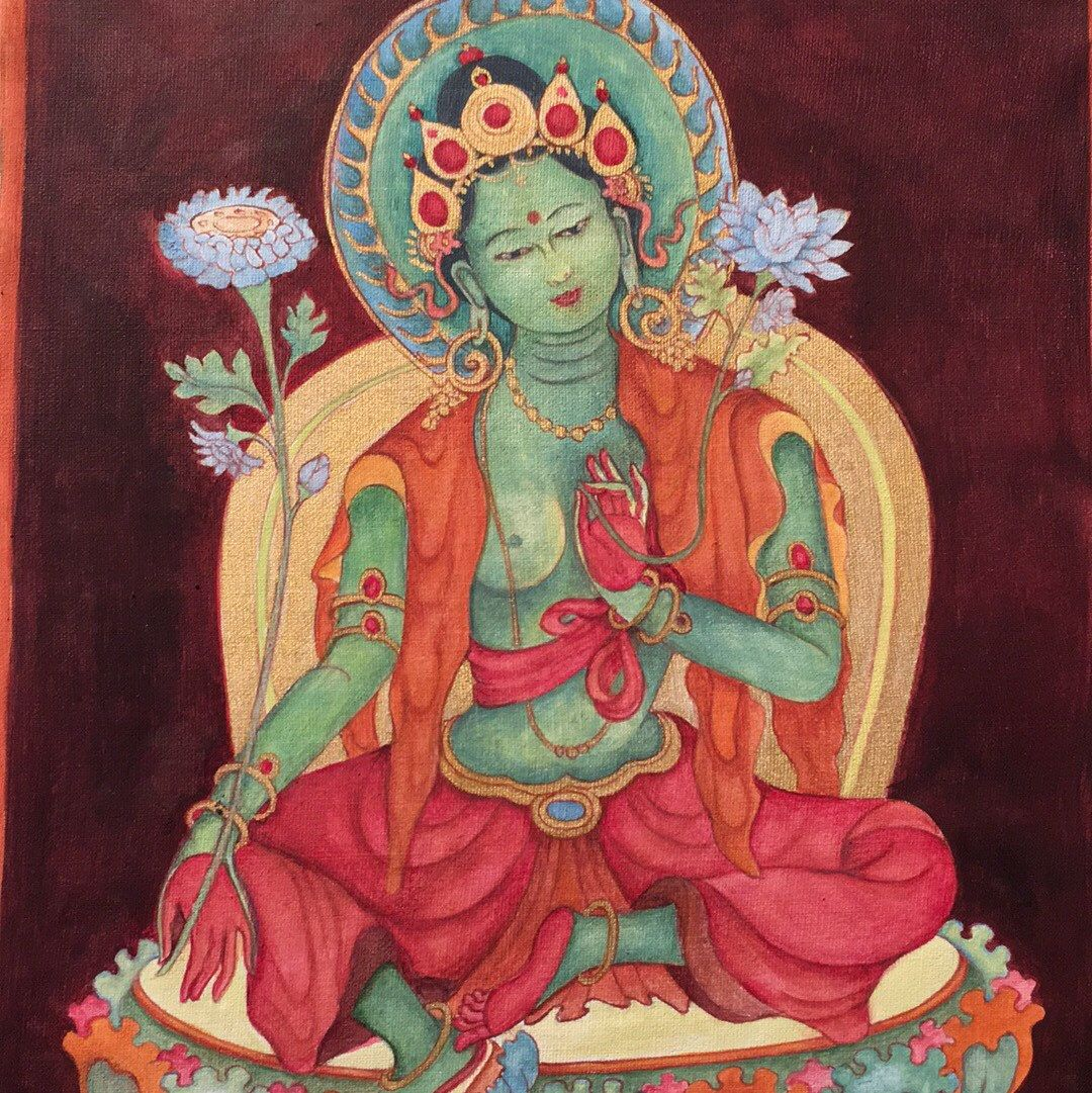 Green Tara Goddess Of Compassion B Thangka Thanka Buddhist Deity Mother Tibetan Art