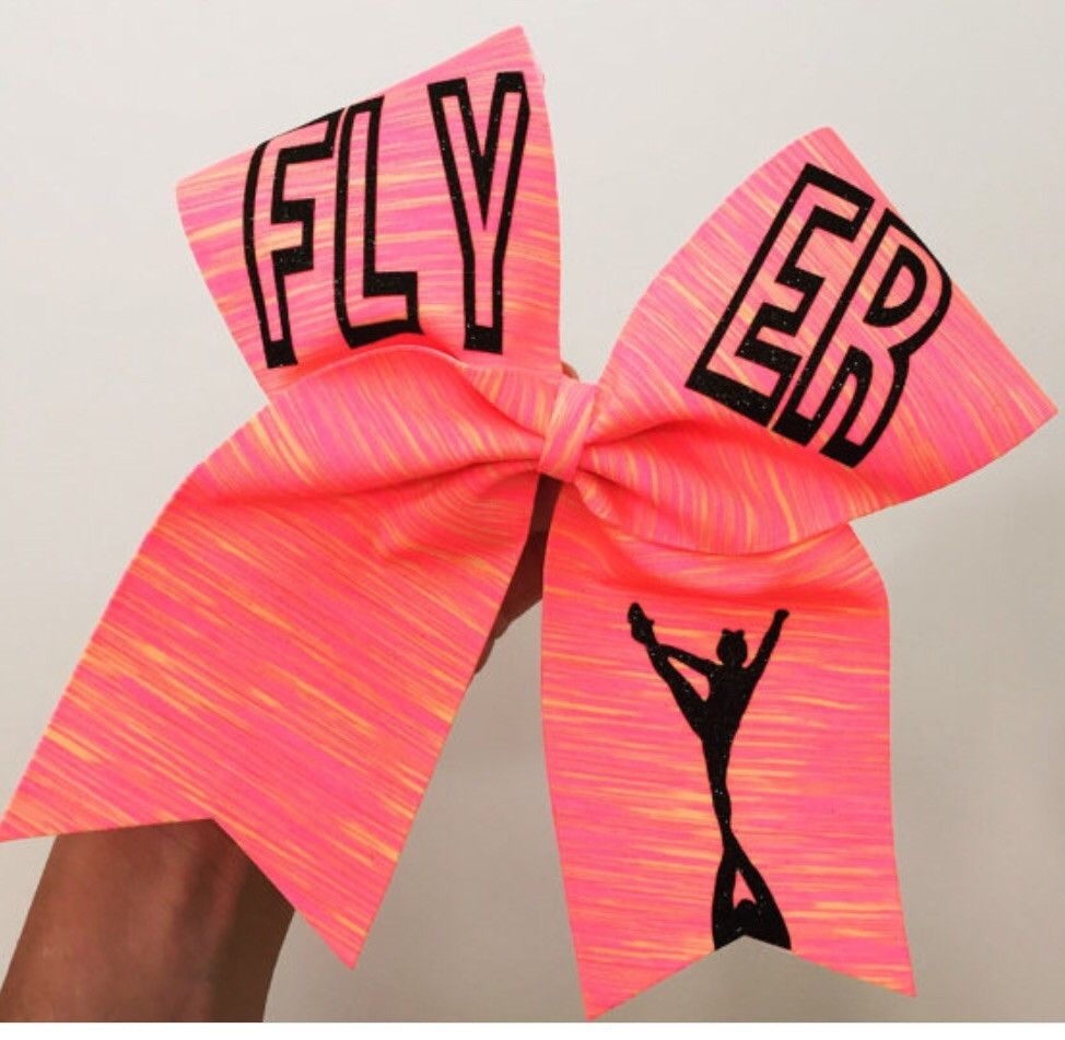 Cheer bow holder for cheer bows and hair bows cheer bow hanger - Flyer Neon Sunset Spandex Cheer Bow Pink Orange