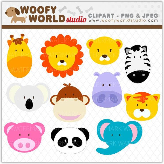 Image Of Animals As Simple Clipart Jungle Animals Clip Art Birthday Invitations Kids