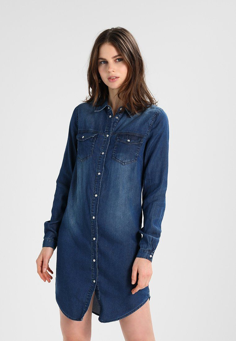 0918f70129e Vila VIBISTA DRESS - Dongerikjole - dark blue denim clean - Zalando.no