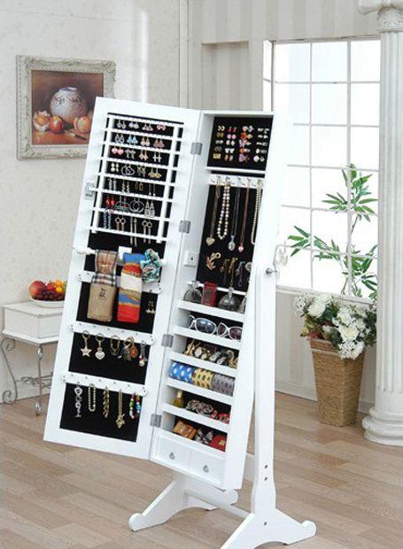 Standing Style Mirror Jewelry Cabinets Armoire Mirror Organizer Storage Box Room