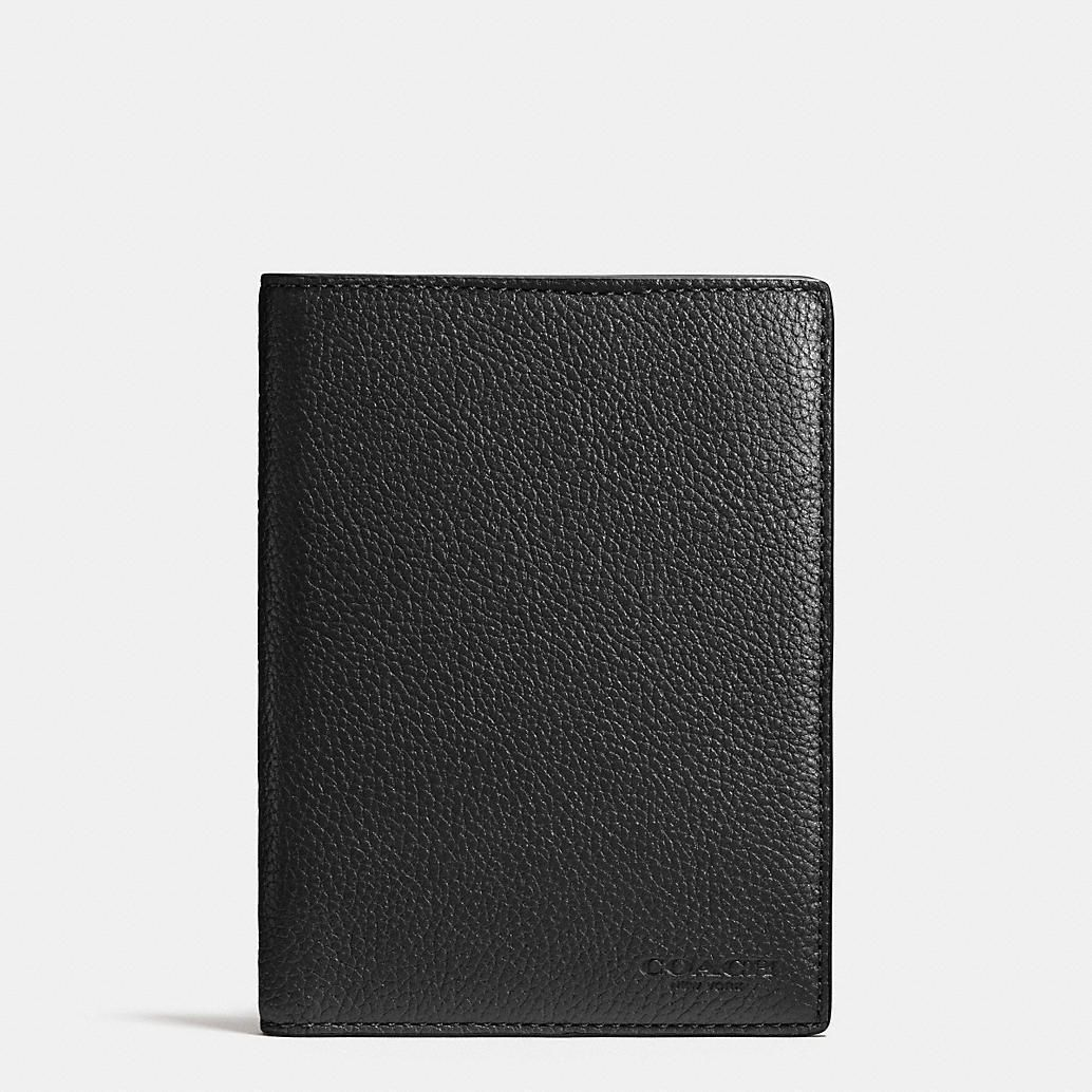 bcd0917479 NWT Authentic Coach PASSPORT Case Wallet in refined pebble leather -Black   93462