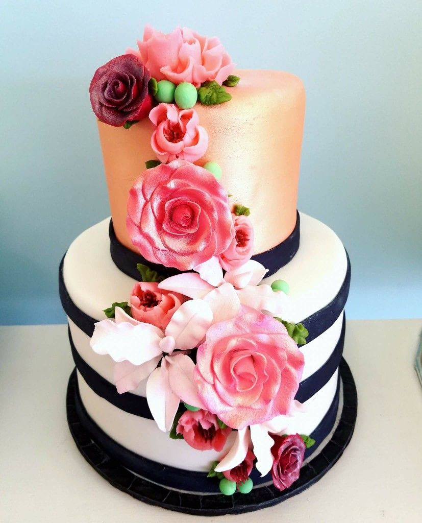Rose Gold Black And White Wedding Cake And Gumpaste Flowers By