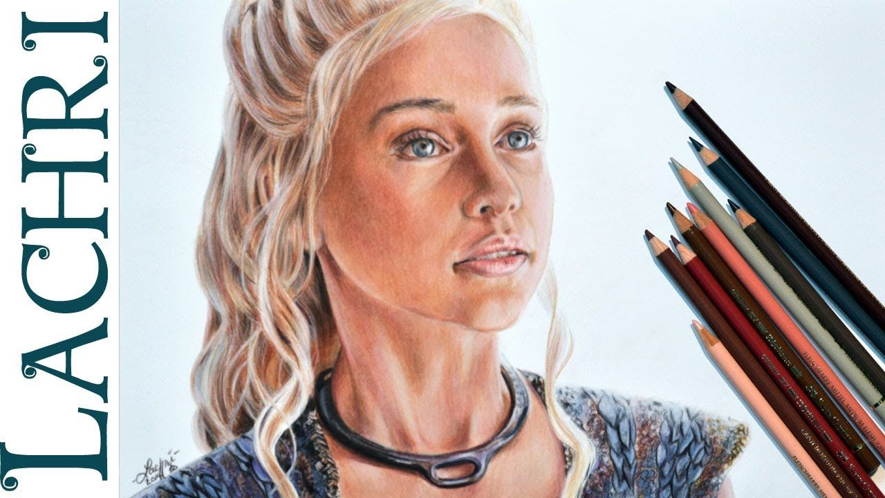 Drawing daenerys w faber castell polychromos colored pencil