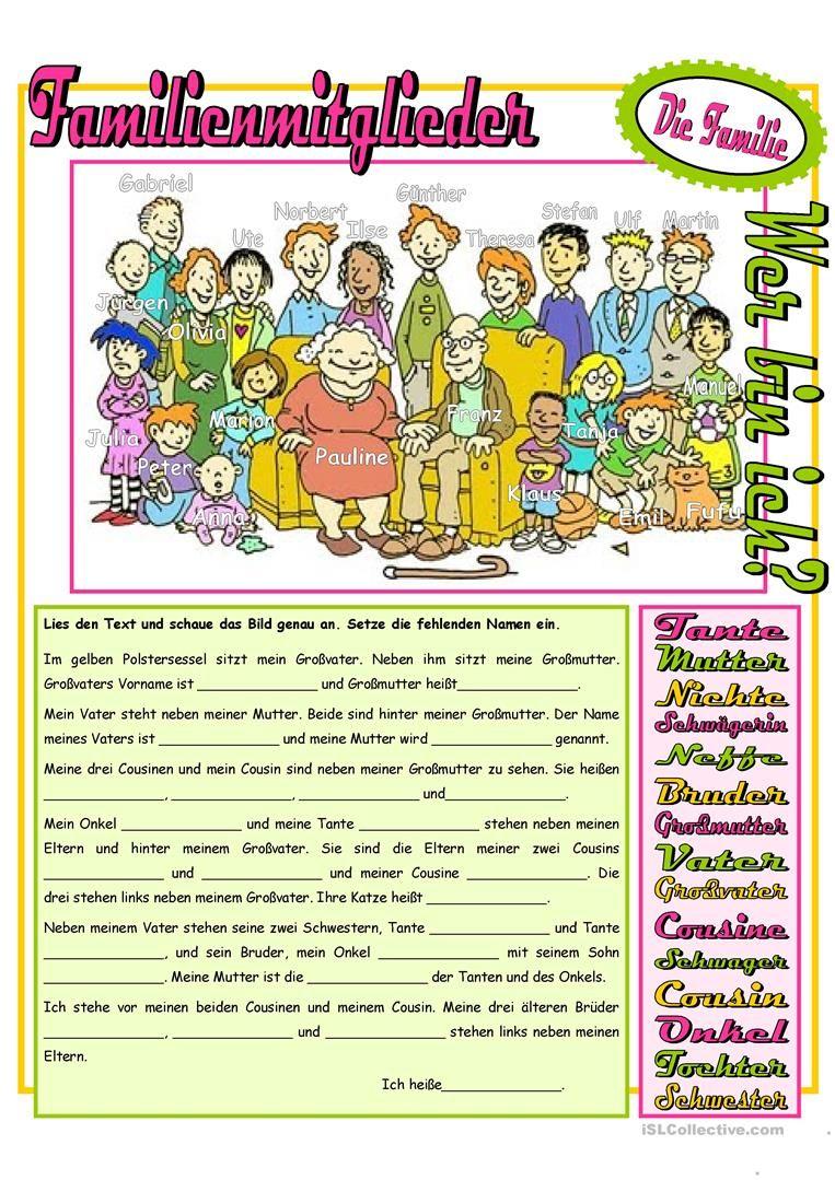 Risultati immagini per familienmitglieder arbeitsblatt ...