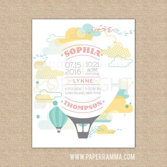 Up up and away nursery decor personalized birth announcement hot up up and away nursery decor personalized birth announcement hot air balloon baby shower gift playroom decor gift n xu09 1ps aa6 06s negle Choice Image