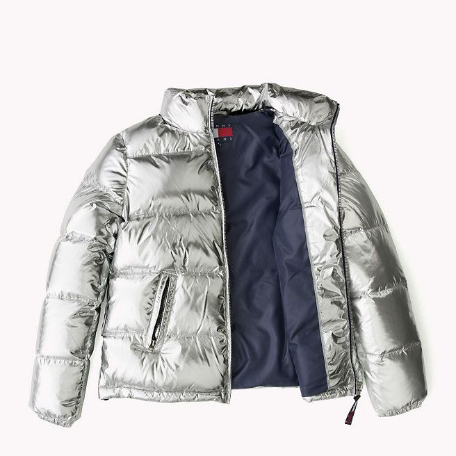 Tommy Hilfiger Silver Down Puffer Jacket metallic silver