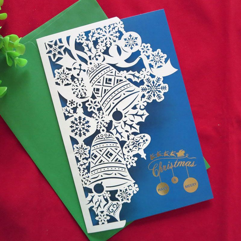 2016 new year 10 pcs creative handmade high quality merry christmas cards cute gifts laser cut up paper business greeting cards