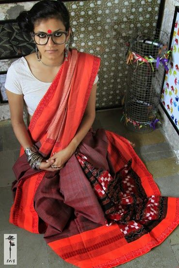 Tribal Odisha Sambhalpuri Cotton Saree Luv The Muted Yet Fiery