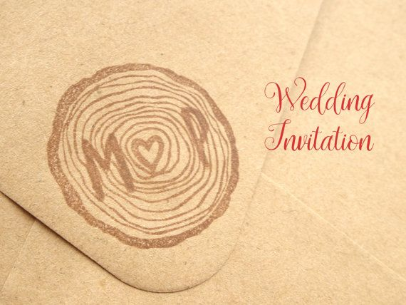 Tree stump stamp Initial wedding stamp by JapaneseRubberStamps