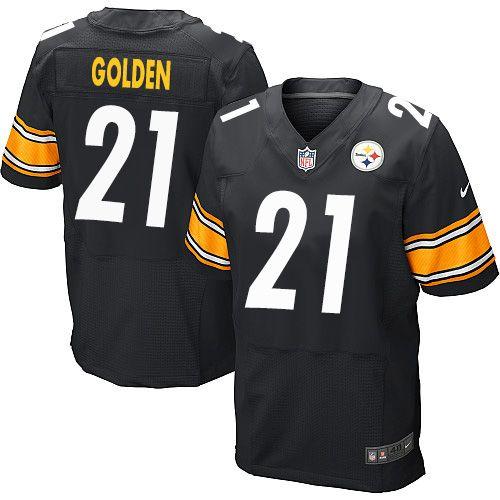 $24.99 Men's Nike Pittsburgh Steelers #21 Robert Golden Elite Black Team Color NFL Jersey