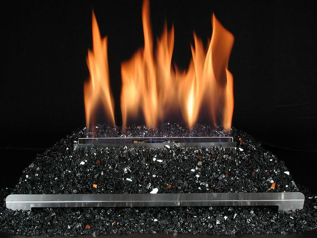 Ventless Gas Log Fireplace With Black Fire Glass Gas Fireplace