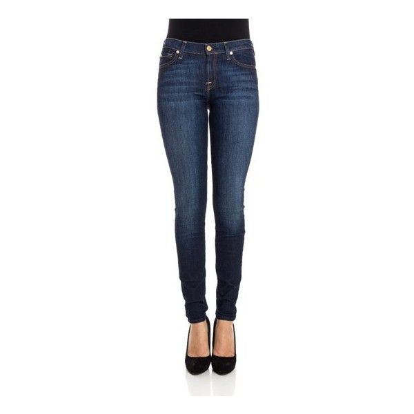 7 for all mankind Skinny Jeans ($247) ❤ liked on Polyvore featuring jeans, blue, skinny fit denim jeans, skinny leg jeans, zipper jeans, zipper skinny jeans and blue jeans