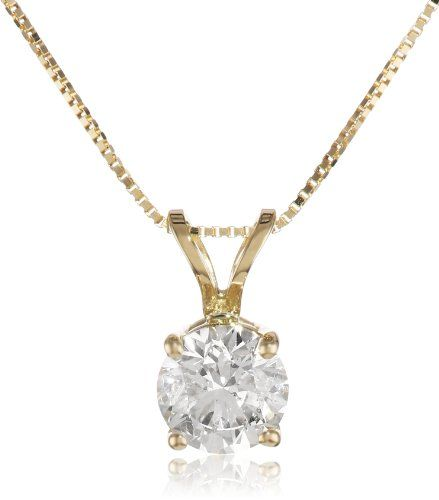 "IGI Certified 18k Yellow Gold Round Diamond Solitaire Pendant Necklace (3/4 cttw, H-I Color, SI1-SI2 Clarity), 18"" on Sale"