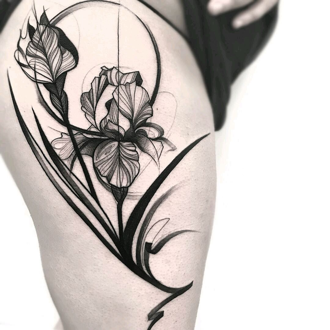 By Frankcarrilho Flowers Floral Blackwork Linework Iris Tattoo Art Deco Tattoo Art Nouveau Tattoo