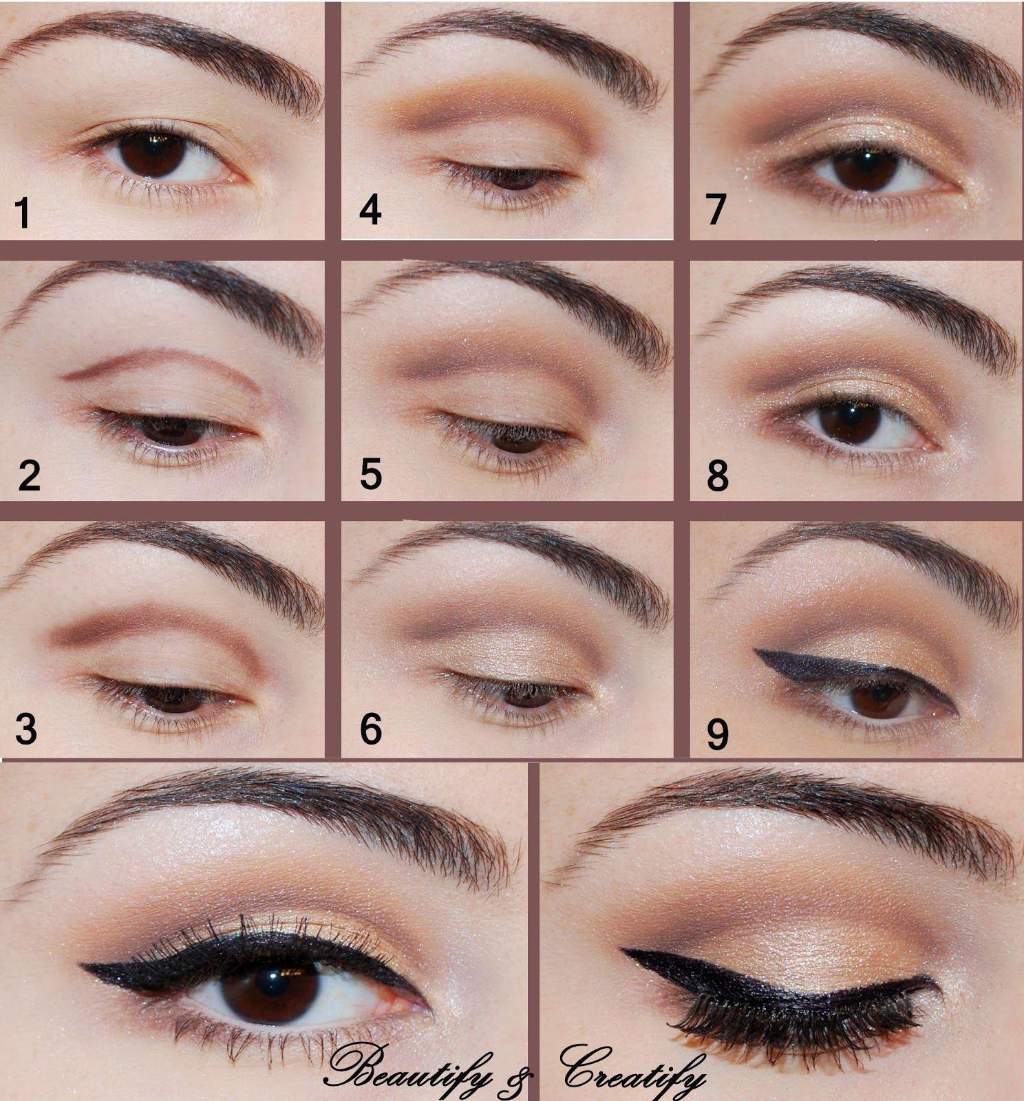 Simple is always better. The dark cream eye shadow blends ...