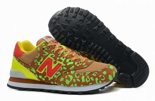 Joes New Balance 574 WL574 Leopard Print Red Green Brown Yellow Womens Shoes