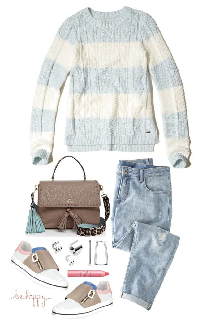 """""""Be happy"""" by musicfriend1 on Polyvore featuring Hollister Co., Wrap, Roger Vivier, Kate Spade, Dana Buchman, tarte and Natural Life"""