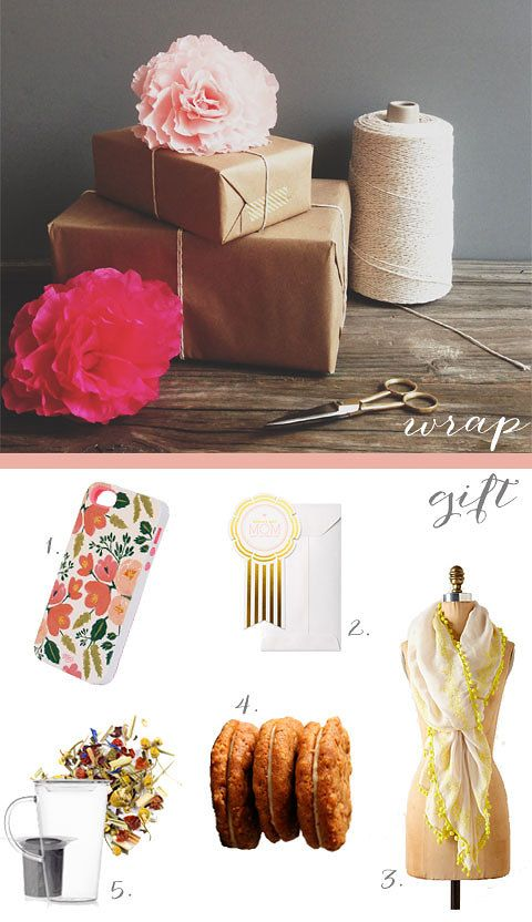 crepe paper flower, kraft wrapping paper, washi tape and baker's twine .... perfect for Mother's day