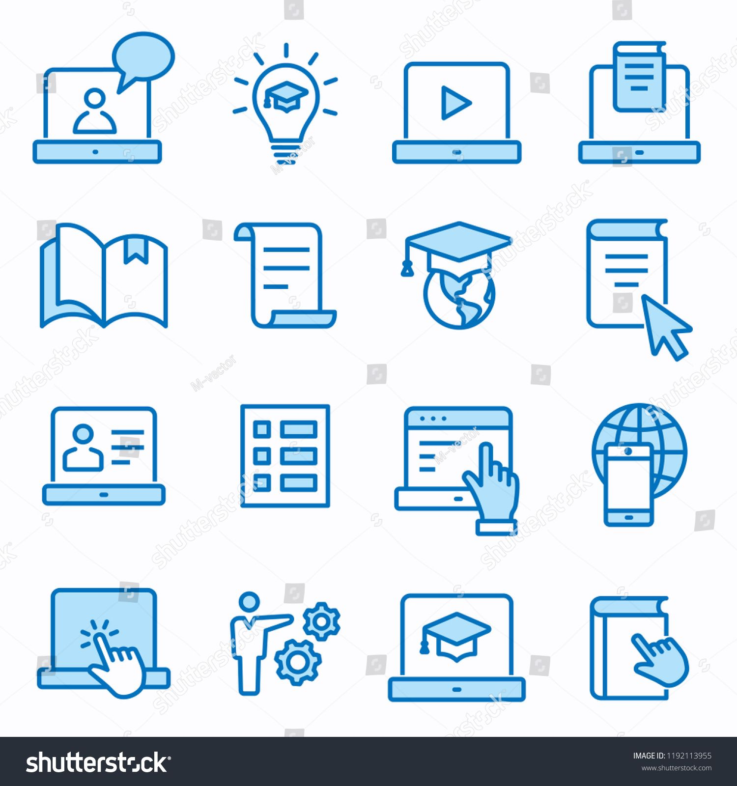E Learning Distance Education Flat Line Icons Set Of Graduation Cap Training Laptop Learn Online Webi Graphic Design Projects Line Icon Distance Education