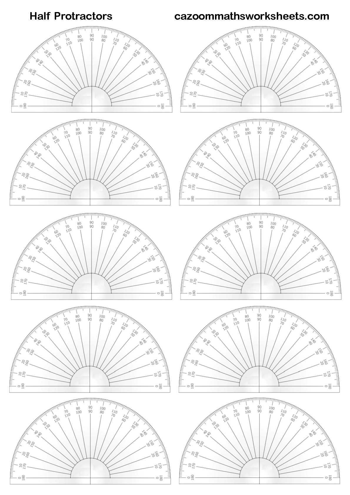 Printable Half Protractors