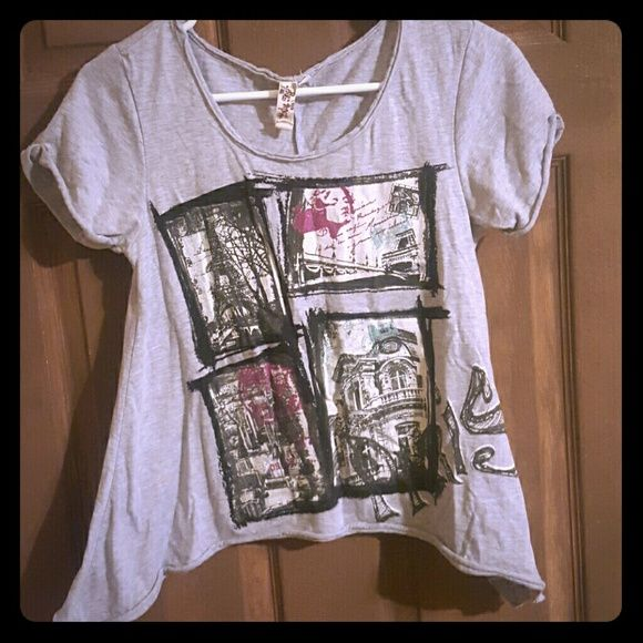 Chic grey Paris flare shirt Chic flare style at hips, cute black& white designs with splashes of magenta and teal. VERY lightweight and so COMFY Only Sky Tops