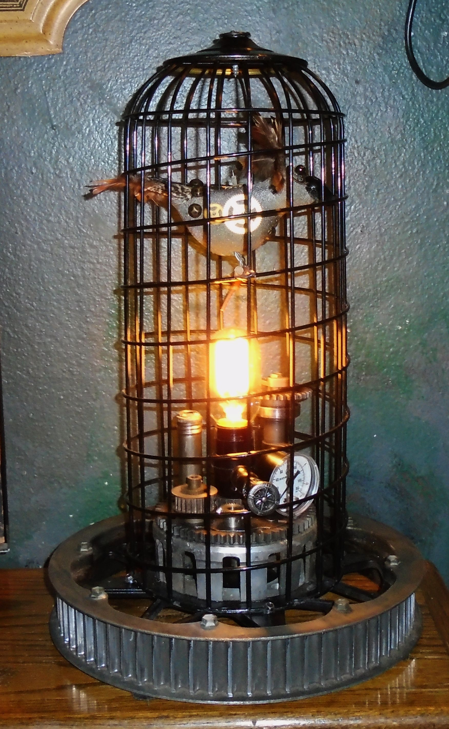 bronzetable oil light frame rubbed steel lamps com desk iron cage bird canada bronze rustic table decomust lamp birdcage