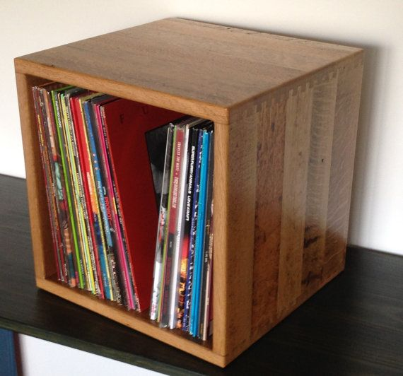 Reclaimed Oak 12 Quot Record Storage Cube