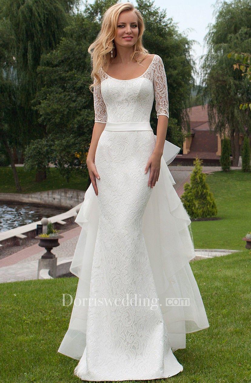 Sheath Scoop Neck Bowed Half Sleeve Lace Wedding Dress Wedding